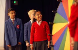 Fairfield pupils using the wheel of fortune